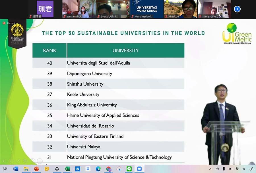 屏科大在2020綠大評比中名列全球第31名
